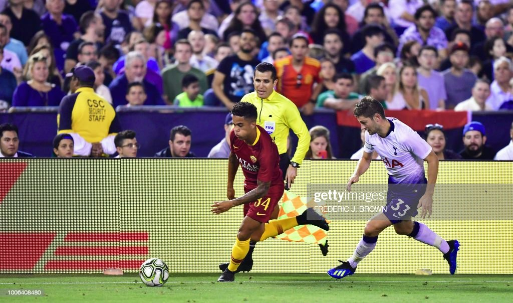 Ben Davies (L) of Tottenham Hotspur chases Jason Kluivert of AS Roma in their International Champions Cup match in San Diego, California on July 25, 2018 where Tottenham defeated Roma 4-1.