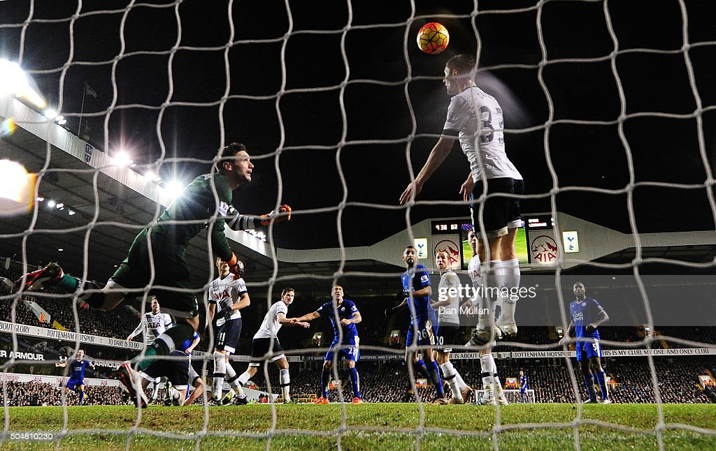 Ben Davies of Tottenham Hotspur fails to block the header by Robert Huth of Leicester City to allow Leicester's first goal during the Barclays Premier League match between Tottenham Hotspur and Leicester City at White Hart Lane on January 13, 2016 in London, England.