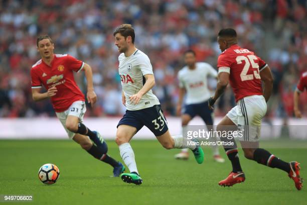 Ben Davies of Tottenham Hotspur in action with Nemanja Matic and Luis Antonio Valencia of Manchester United during the Emirates FA Cup Semi Final at...