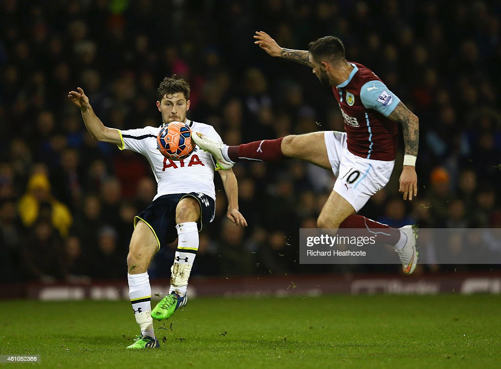 Ben Davies of Tottenham Hotspur is challenged by Danny Ings of Burnley during the FA Cup Third Round match between Burnley and Tottenham Hotspur at Turf Moor on January 5, 2015 in Burnley, England.