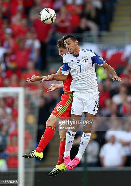 Ben Davies of Wales and Eran Zahavi of Israel challenge for the ball during the UEFA EURO 2016 Qualifying Match between Wales and Israel at the...