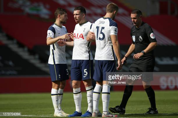 Ben Davies PierreEmile Højbjerg and Eric Dier of Tottenham Hotspur during the Premier League match between Southampton and Tottenham Hotspur at St...
