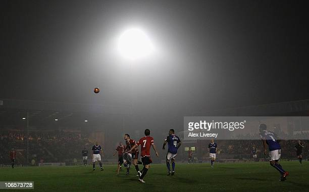 Ben Deegan of FC United of Manchester challenges for the ball during the FA Cup 1st Round match sponsored by eon at Spotland Stadium on November 5...