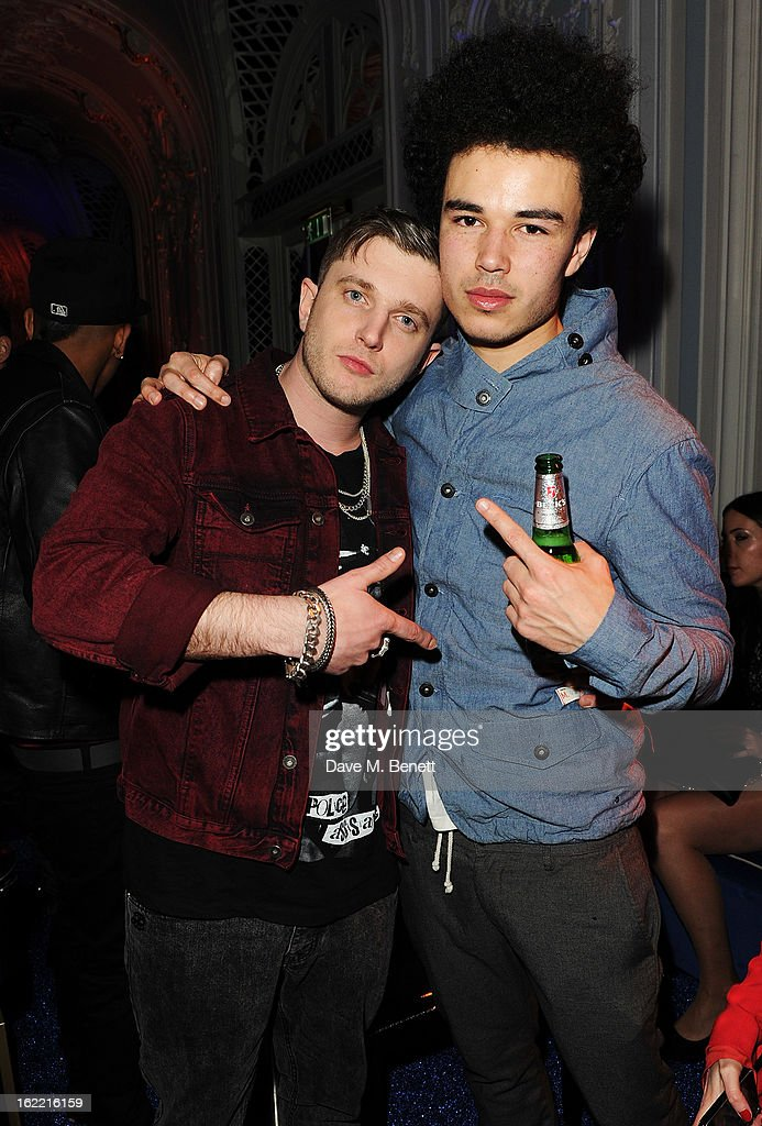 Ben Drew aka Plan B (L) attends the Warner Music Group Post BRIT Party In Association With Samsung at The Savoy Hotel on February 20, 2013 in London, England.