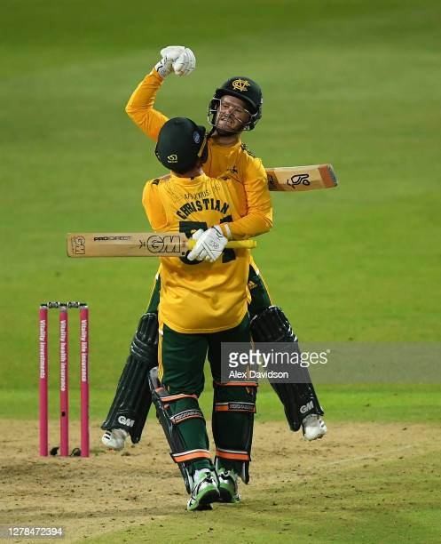 Ben Duckett and Dan Christian of Notts Outlaws celebrate victory in the Vitality Blast 20 Final between Surrey and Notts Outlaws at Edgbaston on...
