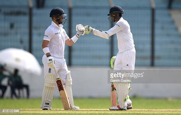 Ben Duckett and Haseeb Hameed of England during day two of the tour match between a Bangladesh Cricket Board XI and England at MA Aziz stadium on...