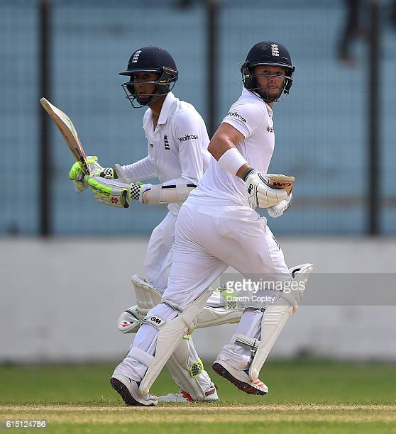 Ben Duckett and Haseeb Hameed of England run between the wickets during day two of the tour match between a Bangladesh Cricket Board XI and England...