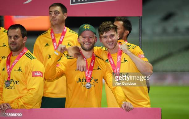 Ben Duckett and Joe Clarke of Notts Outlaws celebrate victory in the Vitality Blast T20 Final between Surrey and Notts Outlaws at Edgbaston on...