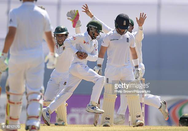 Ben Duckett is caught by Mominul Haque during the third day of the first test match between Bangladesh and England at Zohur Ahmed Chowdhury Stadium...