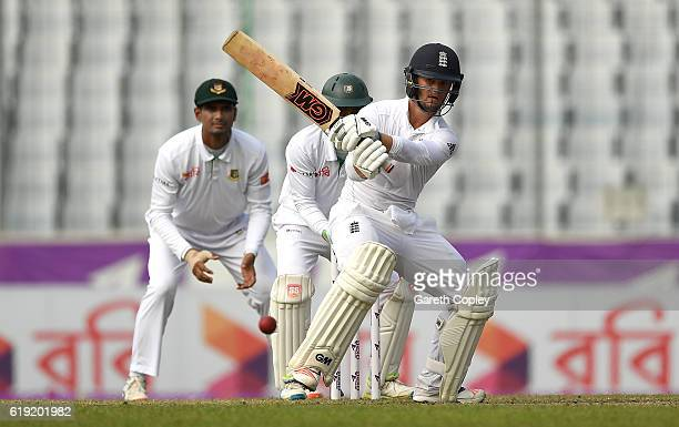 Ben Duckett of England bats during day three of the second Test match between Bangladesh and England at ShereBangla National Cricket Stadium on...