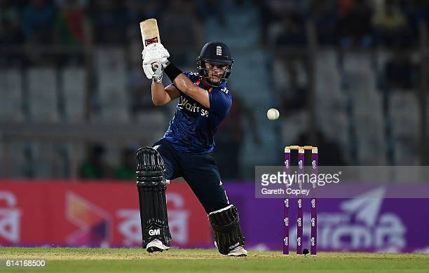Ben Duckett of England bats during the 3rd One Day International match between Bangladesh and England at Zohur Ahmed Chowdhury Stadium on October 12...