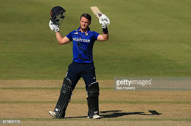 Ben Duckett of England celebrates reaching his century during the Triangular Series match between England Lions and Pakistan A on July 19 2016 in...