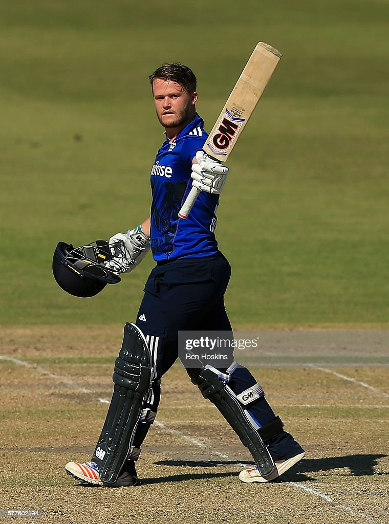 Ben Duckett of England celebrates reaching his century during the Triangular Series match between England Lions and Pakistan A on July 19, 2016 in Cheltenham, England.