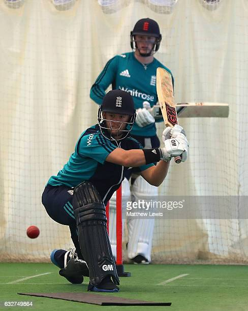 Ben Duckett of England in action at Loughborough University on January 25 2017 in Loughborough England