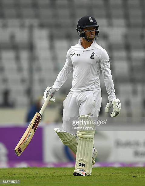 Ben Duckett of England leaves the field after being caught behind by Mushfiqur Rahim of Bangladesh during the first day of the 2nd Test match between...