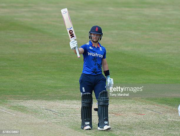 Ben Duckett of England Lions celebrates reaching his 50 during the England Lions v Sri Lanka A Triangular Series match on July 21 2016 in Northampton...