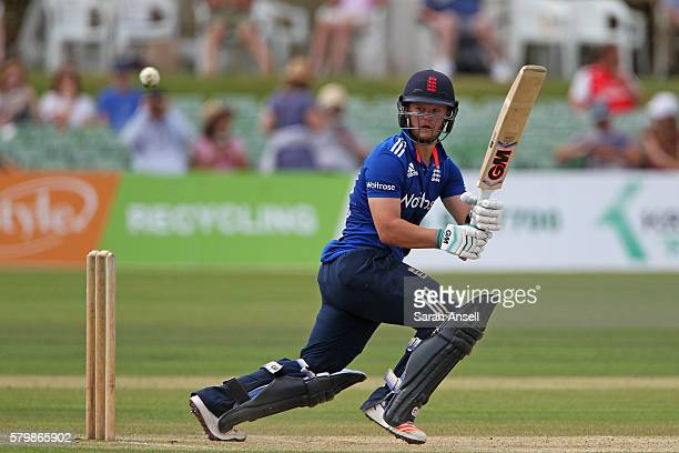 Ben Duckett of England Lions hits a boundary during the Royal London OneDay match between England Lions and Sri Lanka A at The Spitfire Ground on...