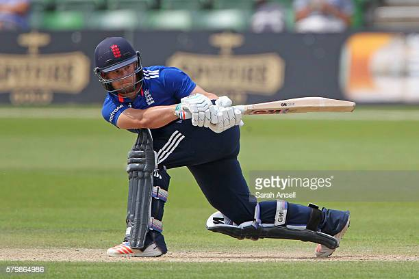 Ben Duckett of England Lions plays a reverse sweep for four runs during the Royal London OneDay match between England Lions and Sri Lanka A at The...