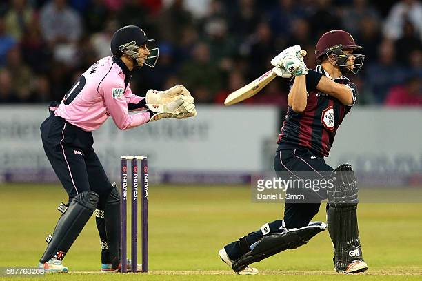 Ben Duckett of Northamptonshire bats during the NatWest T20 Blast Quarter Final match between Northamptonshire Steelbacks and Middlesex at The County...