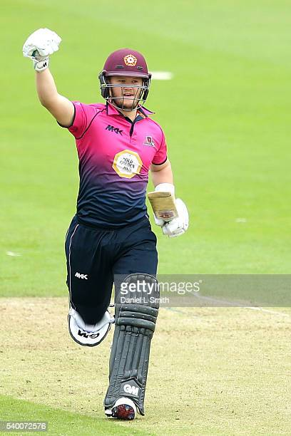 Ben Duckett of Northamptonshire celebrates after reaching 100 runs during the Royal London OneDay Cup match between Yorkshire and Northamptonshire on...