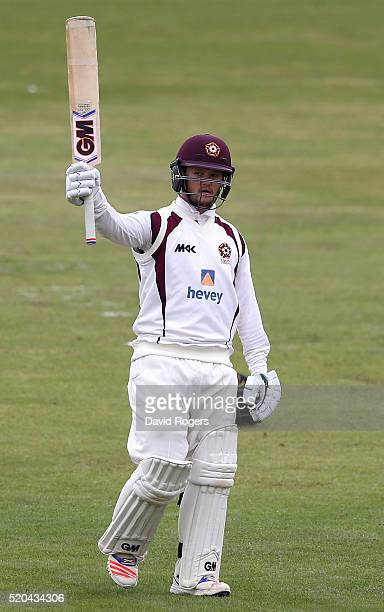 Ben Duckett of Northamptonshire celebrates after scoring a 250 runs during the Specsavers County Championship division two match between...