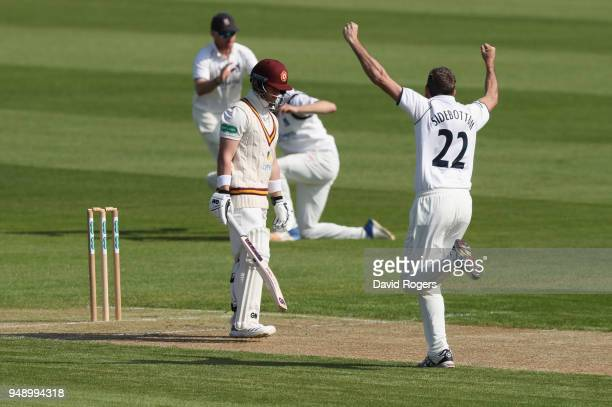 Ben Duckett of Northamptonshire is caught first ball by Will Rhodes of the bowling of Ryan Sidebottom during the Specsavers County Championship...