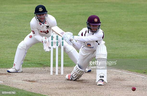 Ben Duckett of Northamptonshire reverse sweeps the ball during the Specsavers County Championship division two match between Northamptonshire and...