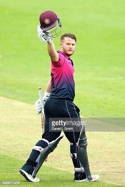 Ben Duckett of Northamptonshire salutes the crowd after reaching 100 runs during the Royal London OneDay Cup match between Yorkshire and...