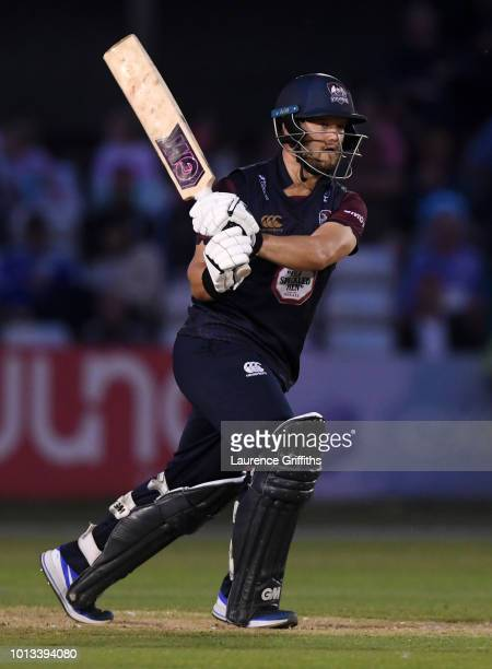 Ben Duckett of Northamptonshire Steelbacks hits out during the Vitality Blast match between Derbyshire Falcons and Northampton Steelbacks at The 3aaa...