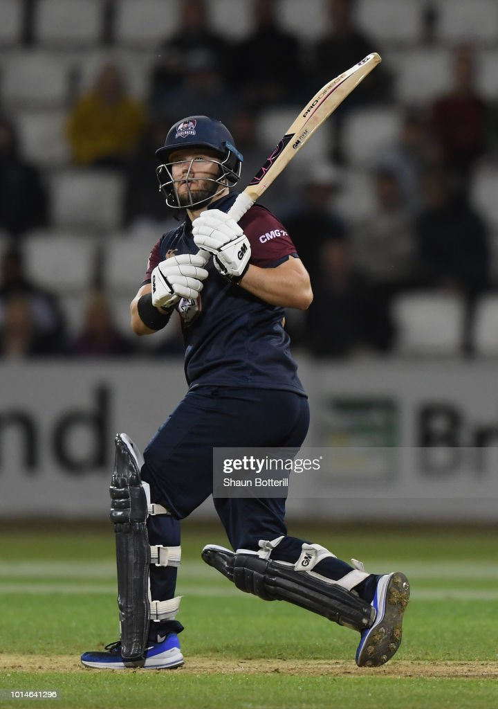 Ben Duckett of Northamptonshire Steelbacks plays a shot during the Vitality Blast match between Northamptonshire Steelbacks and Durham Jets at The County Ground on August 10, 2018 in Northampton, England.