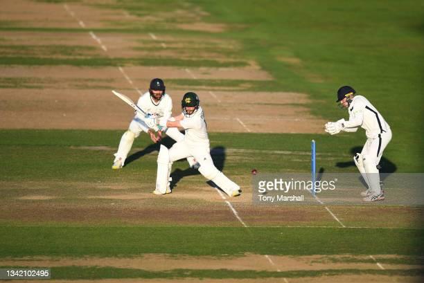Ben Duckett of Nottinghamshire bats during the LV= Insurance County Championship match at Trent Bridge on September 23, 2021 in Nottingham, England.