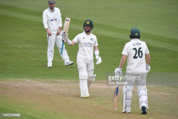 Ben Duckett of Nottinghamshire celebrates reaching his 50 during the LV= Insurance County Championship match between Nottinghamshire and Yorkshire at...