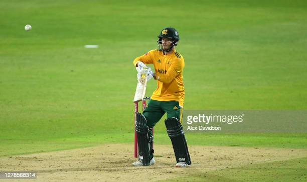 Ben Duckett of Notts Outlaws hits runs during the Vitality Blast 20 Final between Surrey and Notts Outlaws at Edgbaston on October 04 2020 in...