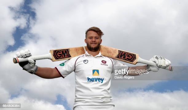 Ben Duckett poses during the Northamptonshire County Cricket photocall at The County Ground on April 5 2017 in Northampton England