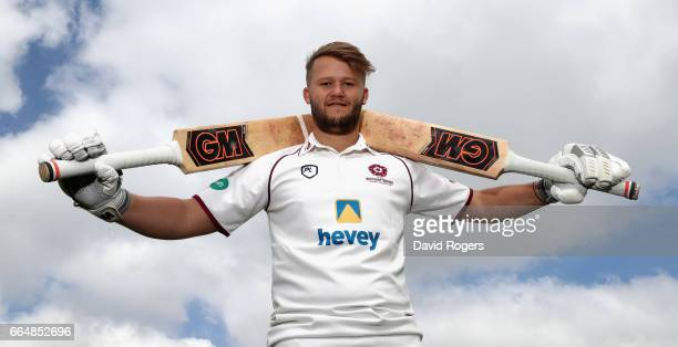 Ben Duckett poses during the Northamptonshire County Cricket photocall held at The County Ground on April 5 2017 in Northampton England