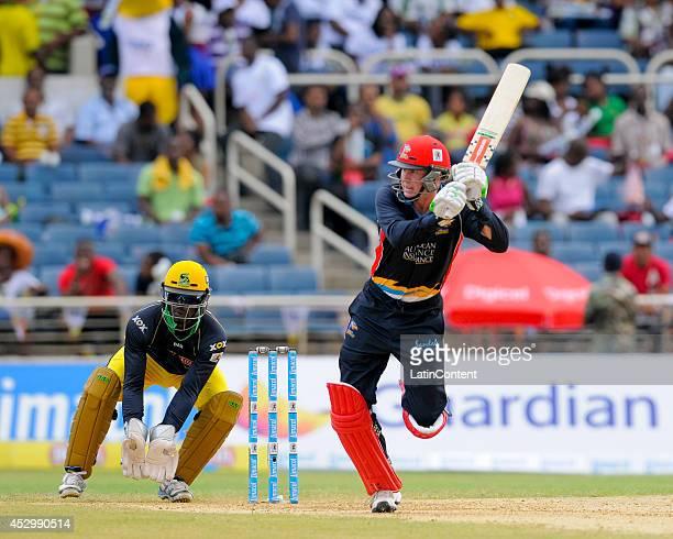 Ben Dunk of Antigua Hawksbills hits 4 during a match between Jamaica Tallawahs and Antigua Hawksbills as part of the week 4 of Caribbean Premier...