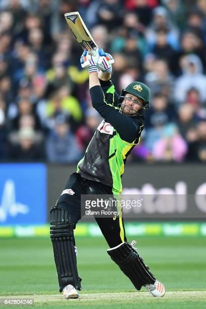 Ben Dunk of Australia bats during the second International Twenty20 match between Australia and Sri Lanka at Simonds Stadium on February 19 2017 in...