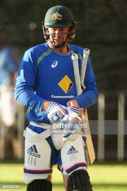 Ben Dunk of Australia prepares to bat during an Australia T20 training session at Adelaide Oval on February 21 2017 in Adelaide Australia