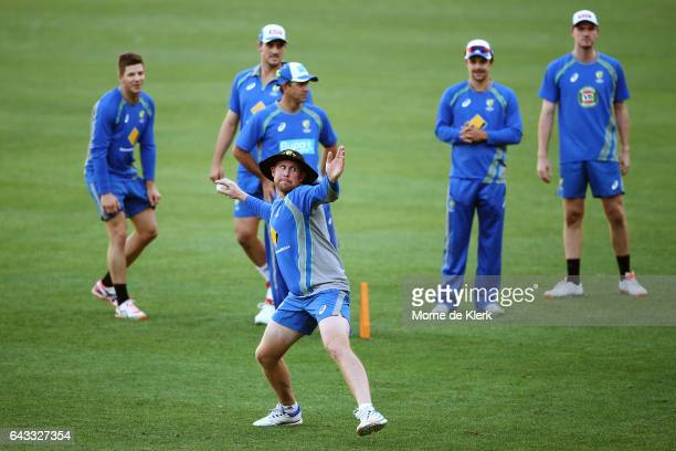 Ben Dunk of Australia throws the ball during an Australia T20 training session at Adelaide Oval on February 21 2017 in Adelaide Australia