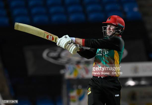 Ben Dunk of St Kitts & Nevis Patriots hits 4 during the Hero Caribbean Premier League match 4 between Guyana Amazon Warriors and St Kitts & Nevis...