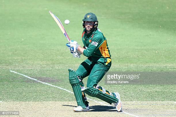 Ben Dunk of Tasmania plays a shot during the Matador BBQs One Day Cup match between Tasmania and the Cricket Australia XI at Allan Border Field on...