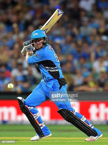Ben Dunk of the Adelaide Strikers bats during the Big Bash League match between the Adelaide Strikers and the Hobart Hurricanes at Adelaide Oval on...