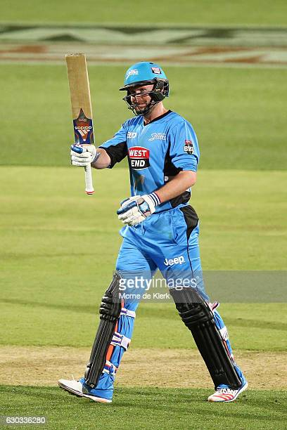 Ben Dunk of the Adelaide Strikers celebrates after reaching 50 runs during the Big Bash League match between the Adelaide Strikers and Brisbane Heat...
