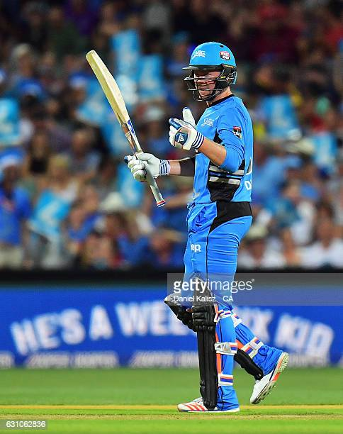 Ben Dunk of the Adelaide Strikers reacts after reaching his half century during the Big Bash League match between the Adelaide Strikers and the...