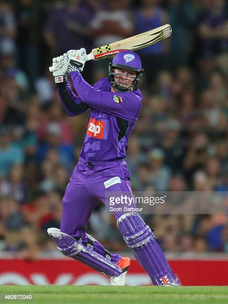Ben Dunk of the Hurricanes bats during the Big Bash League match between the Hobart Hurricanes and the Brisbane Heat at Blundstone Arena on January...