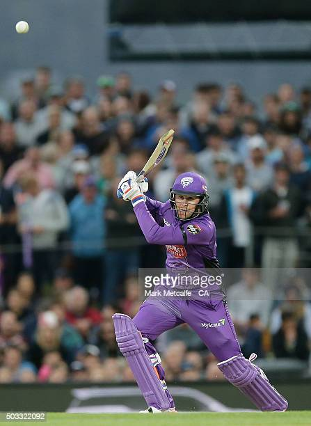 Ben Dunk of the Hurricanes bats during the Big Bash League match between the Hobart Hurricanes and the Melbourne Renegades at Blundstone Arena on...