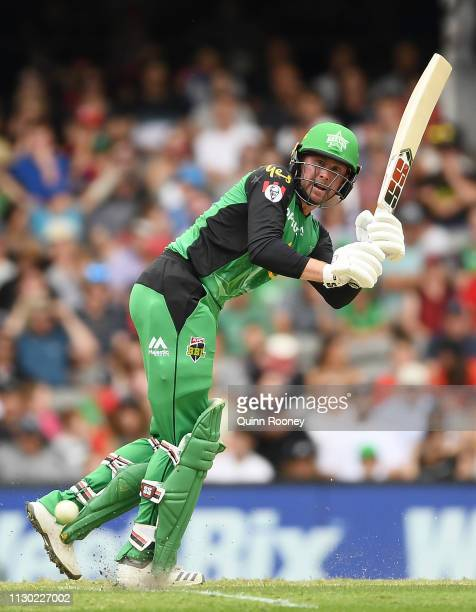 Ben Dunk of the Melbourne Stars bats during the Big Bash League Final match between the Melbourne Renegades and the Melbourne Stars at Marvel Stadium...