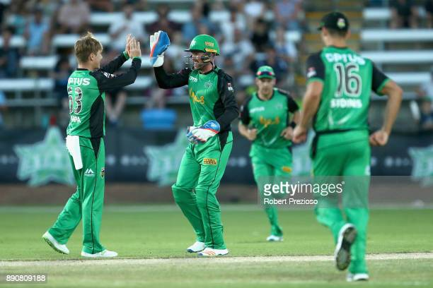 Ben Dunk of the Melbourne Stars celebrates after stumping Jay Lenton of the Sydney Thunder during the Big Bash League exhibition match between the...