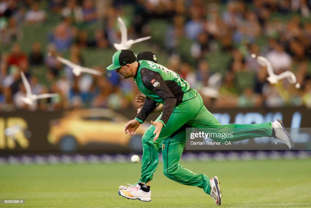 Ben Dunk of the Melbourne Stars chasea after the ball during the Big Bash League match between the Melbourne Stars and the Sydney Sixers at Melbourne Cricket Ground on January 16, 2018 in Melbourne, Australia.
