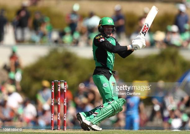 Ben Dunk of the Stars bats during the Big Bash League match between the Melbourne Stars and the Adelaide Strikers at Ted Summerton Reserve on January...